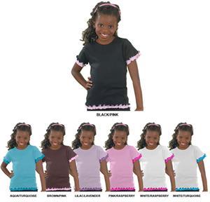 LAT Sportswear Girls Baby Rib Double Ruffle Tees