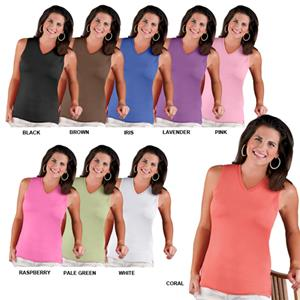 LAT Sportswear Ladies V-Neck Sleeveless T-Shirt