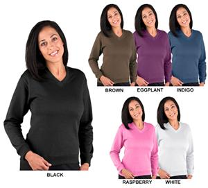 LAT Sportswear Ladies French Terry V-Neck Pullover