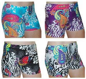 Spandex 3&quot; Sports Shorts - Paisley Zebra Print