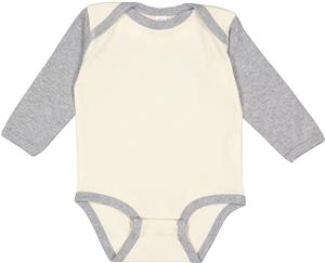 LAT Sportswear Infant Baby Rib Long Sleeve Creeper