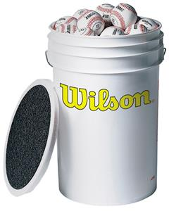 "Wilson 3 dozen 7.5"" Baseballs in 3 gallon bucket"
