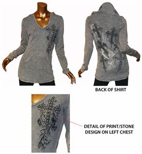 T Party Gray Long Sleeve V-Neck Hoodie w/Pocket