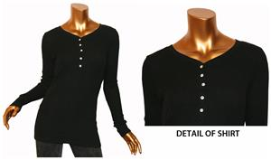 T Party Black Button Down Long Sleeve Top