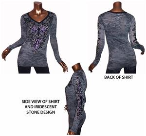 Vocal Contrast Band V-Neck Burnout Long Sleeve Top