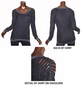 T Party Long Sleeve Top w/Shoulder Cut Out Design