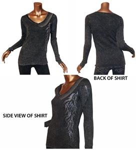 T Party Black Mineral Wash V-Neck Long Sleeve Top