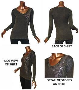T Party Mineral Wash V-Neck Long Sleeve Top