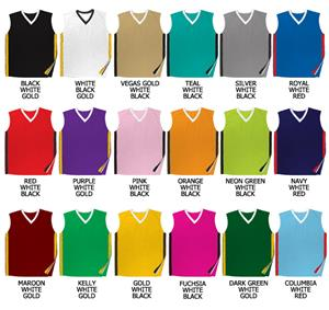 Basketball Dazzle Cloth Solid V-Neck Trim Jerseys