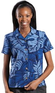 Edwards Womens South Seas Leaf Print Camp Shirt