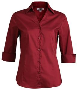 Edwards Womens V-Neck Tailored 3/4 Sleeve Blouse