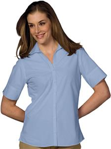 Edwards Womens Casual Poplin Short Sleeve Blouse