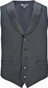 Edwards Womens Black Satin Shawl Vest