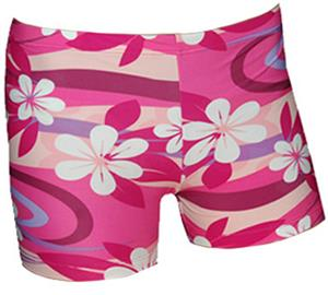 Spandex 6&quot; Sports Shorts - Plumeria Pink Print