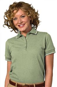 Edwards Womens Pique Polos w/Tipped Collar &amp; Cuffs