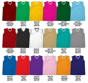 Basketball Textured Mesh V-Neck Jersey With Trim