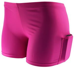 "Plangea Spandex 6"" Pink Short w/Cellphone Pocket"