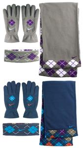 NIKE Argyle Fleece Set Gloves &amp; Scarf