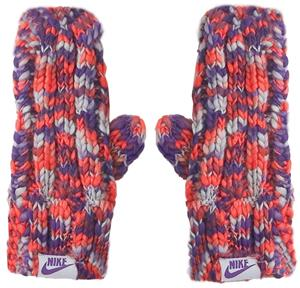 NIKE Textured Knit Mittens Purple/Orange