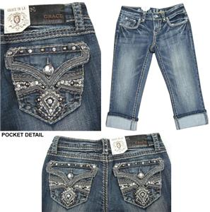 Grace in L.A.Bling Pocket Capri Jeans
