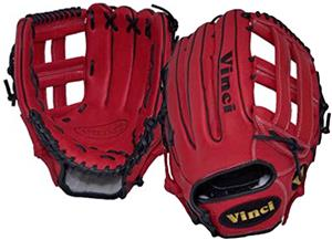 "Vinci 12.75"" Red Dual Web Fielders Baseball Glove"