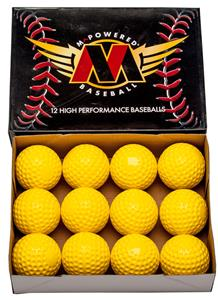 "M Powered 9"" Yellow Dimple Softball (Dozen)"
