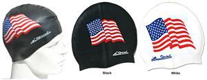 Sprint Aquatics Silicone American Flag Swim Cap