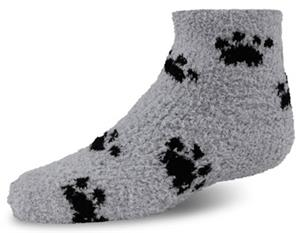 World's Softest Youth Cozy Spa Qtr Paw Print Socks