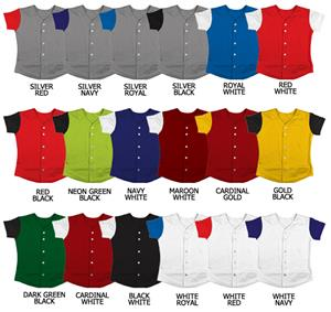 Softball Double Knit Jersey w/ Contrasting Sleeves