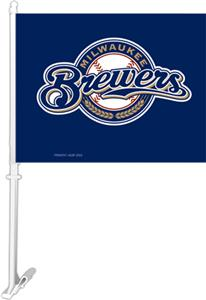 "MLB Milwaukee Brewers 2-Sided 11"" x 14"" Car Flag"