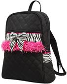 Sassi Designs Quilted Zebra Backpack Pink Fringe