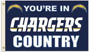 NFL You&#39;re in Chargers Country 3&#39; x 5&#39; Flag