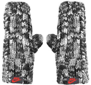 NIKE Textured Knit Mittens Grey