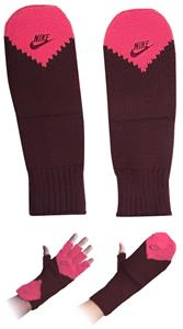 NIKE Metro Series Fingerless Glove/Mitten Burgundy