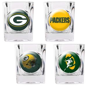 NFL Green Bay Packers 4 Piece Shot Glass Set
