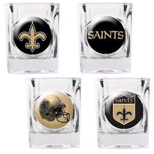 NFL New Orleans Saints 4 Piece Shot Glass Set