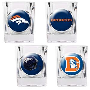 NFL Denver Broncos 4 Piece Shot Glass Set