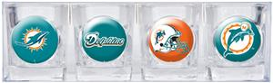 NFL Miami Dolphins 4 Piece Shot Glass Set