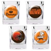 NFL Cleveland Browns 4 Piece Shot Glass Set
