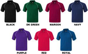 Baw Adult Short Sleeve Raglan Cool-Tek Polo Shirts