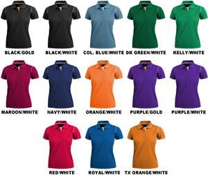 Ladies SS Color Rib Shoulder Cool-Tek Polo Shirts