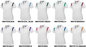 Baw Ladies SS White Rib Shoulder Cool-Tek Polos