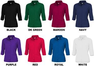 Ladies 3/4 Sleeve Full Button Cool-Tek Polo Shirts