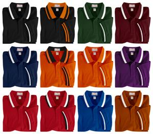 Adult SS Color Wide Stripe Collar Polo Shirts
