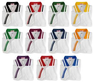 Adult SS White Wide Stripe Collar Polo Shirts