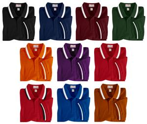 Baw Youth SS Color Wide Stripe Collar Polo Shirts