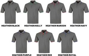 Baw Adult SS Heather Body Contrast Placket Polos