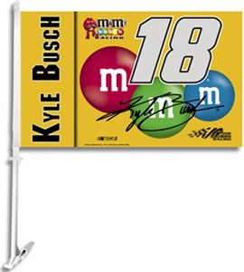 "NASCAR Kyle Busch #18 2-Sided 11"" x 18"" Car Flag"