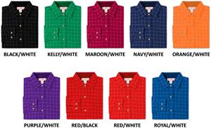 Ladies LS Window Pane Gingham Woven Shirts