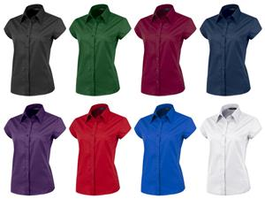 Ladies Cap Sleeved Stretch Poplin Woven Blouses